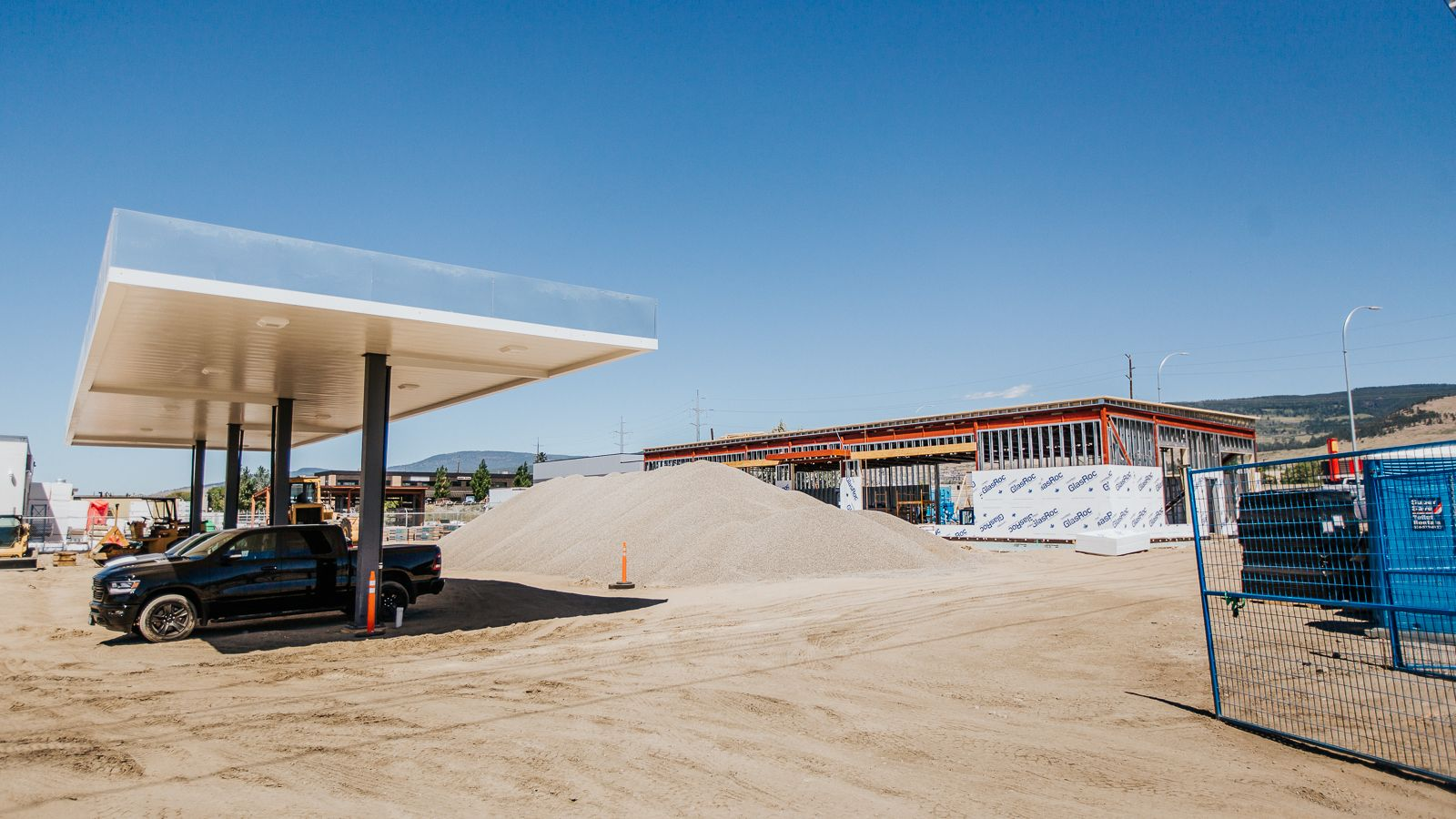 A gas station and a store under construction